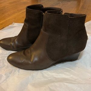 Coach Shoes - Coach brown leather suede wedge booties